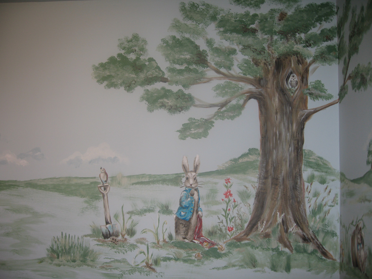 28 peter rabbit wall murals blog peter rabbit wall for Beatrix potter mural wallpaper